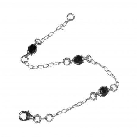 Bracelet Argent 925 Rhodié Noir bra356
